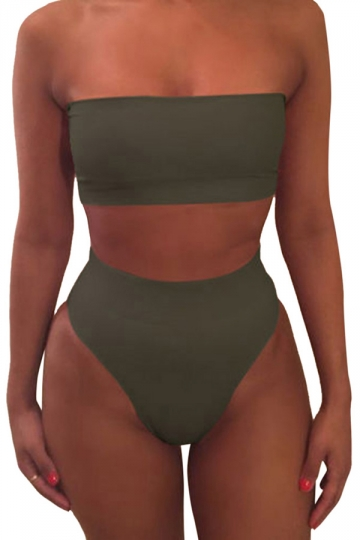Womens Sexy Plain Bandeau Top&High Waist Bottom Bikini Set Army Green