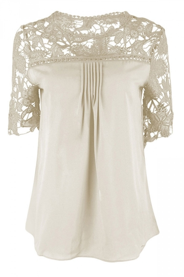 Womens Sexy Plain Lace Splicing Short Sleeve Blouse Beige White