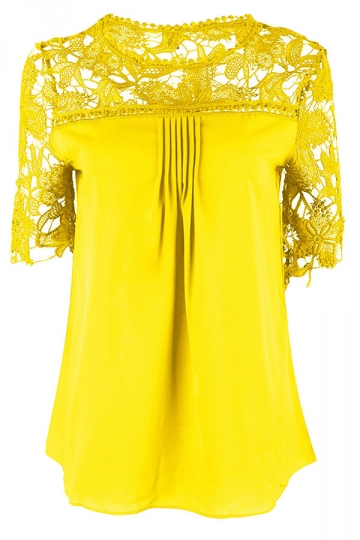 Womens Sexy Plain Lace Splicing Short Sleeve Blouse Yellow