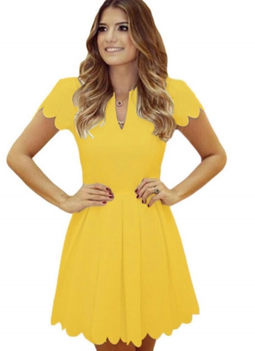 Womens V Neck Scallop Pleated Plain Skater Dress Yellow