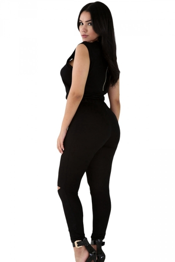 Womens Stylish Zip Line Front Cut Out Plain Jumpsuit Black