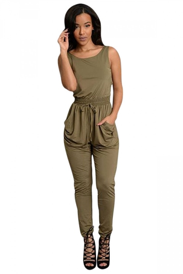Womens Sexy Drawstring Waist Pockets Sleeveless Jumpsuit Army Green