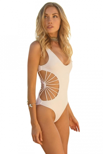 Womens Sexy Side Strappy Cut Out One Piece Swimsuit White