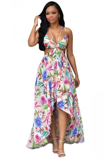 Womens Sexy Bohemia Floral Printed High Low Maxi Dress White