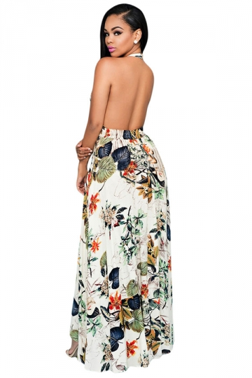 Womens Halter Floral Backless Romper with Maxi Dress Beige White