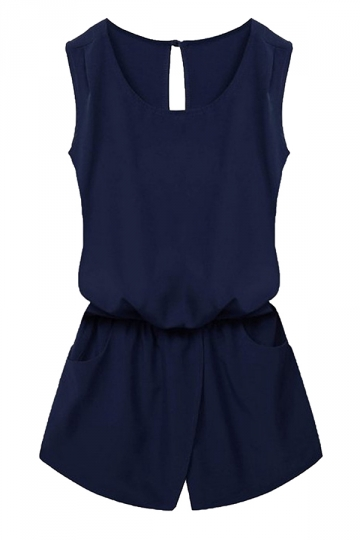 Womens Stylish Sleeveless Elastic Waist Pockets Romper Navy Blue
