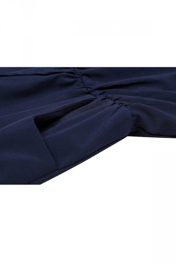 Womens Stylish Sleeveless Elastic Waist Pockets Romper Navy Blue