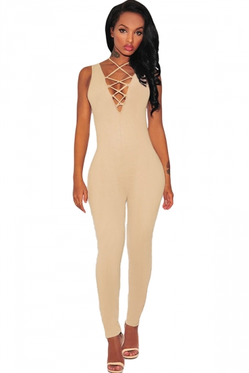 Elegant Closed Cotton Jumpsuit In Khaki  Lyst