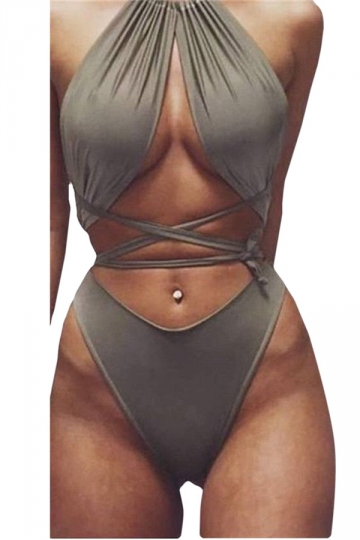 Womens Sexy Lace Up Bandage Bikini Top&Swimsuit Bottom Army Green