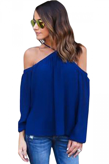 Womens Sexy Halter Off Shoulder Long Sleeve Blouse Navy Blue