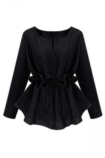Womens Plain Plus Size Ruffle Waist Long Sleeve Blouse Black