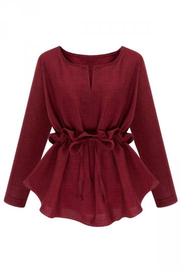 Womens Plain Plus Size Ruffle Waist Long Sleeve Blouse Ruby