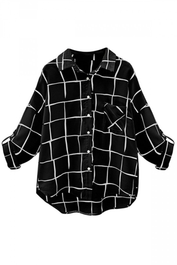 Womens Turndown Collar Plaid Single-breasted Long Sleeve Blouse Black