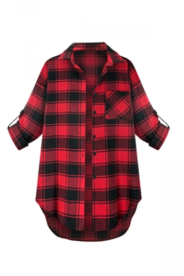 Womens Plus Size Printed Back Plaid Single-breasted Blouse Red