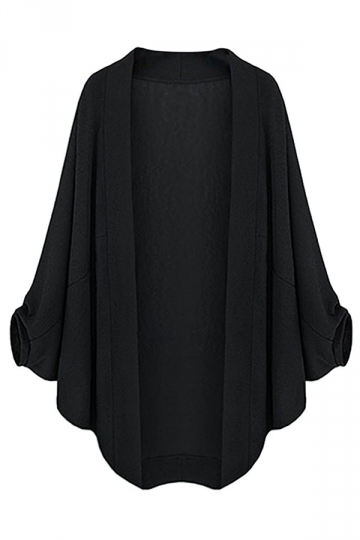 Womens Plain Plus Size Batwing Sleeve Cardigan Black
