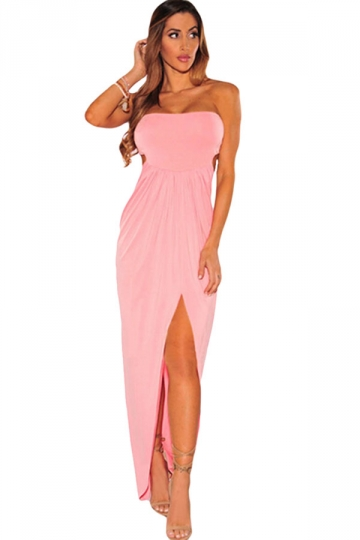 Womens Draped Hollow-out Slit Front Tube Maxi Dress Pink - PINK QUEEN