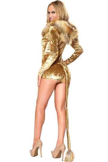 Womens Long Sleeve Hooded One Piece Halloween Lion Costume Gold