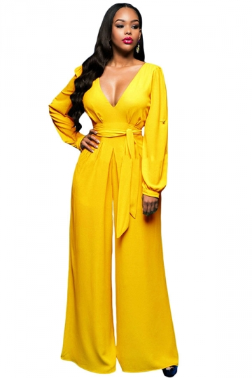 Womens V Neck Long Sleeve Lace-up Palazzo Jumpsuit Yellow - PINK QUEEN