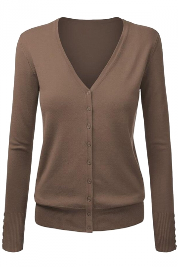 Womens V Neck Single-breasted Long Sleeve Plain Cardigan Sweater Brown