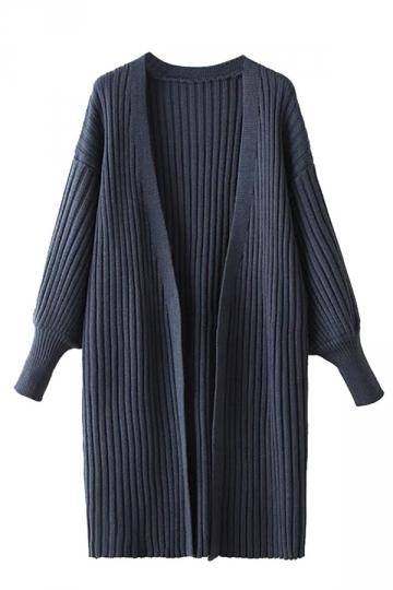 Womens Plain Puff Sleeve Midi Cardigan Sweater Navy Blue