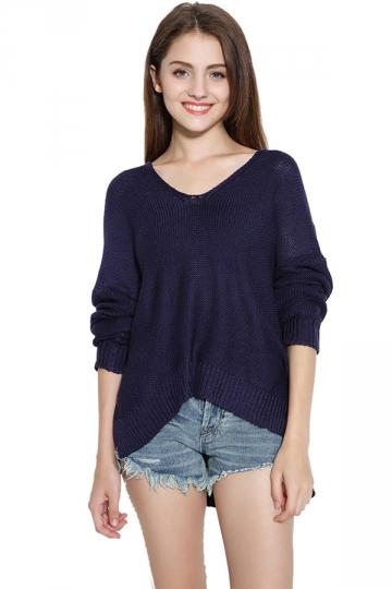 Womens V Neck Plain Side Slit Long Sleeve Pullover Sweater