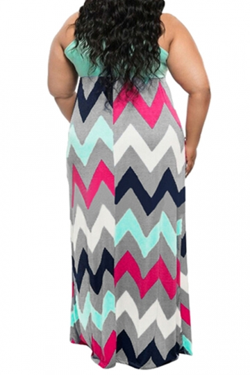 Womens Plus Size Zigzag Printed Maxi Tank Dress Light Blue - PINK ...
