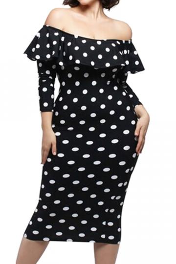 Womens Plus Size Polka Dot Ruffle Off-shoulder Long Sleeve Dress Black