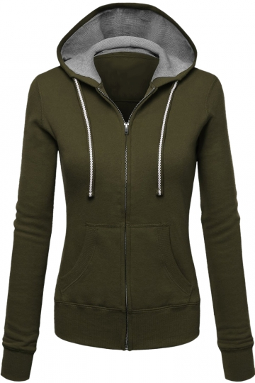Womens Zip Up Drawstring Long Sleeve Hoodie Army Green
