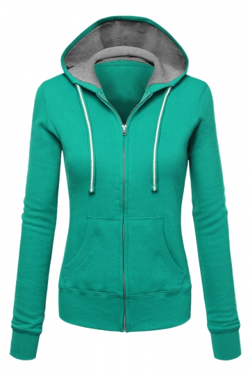 Womens Zip Up Drawstring Long Sleeve Hoodie Green