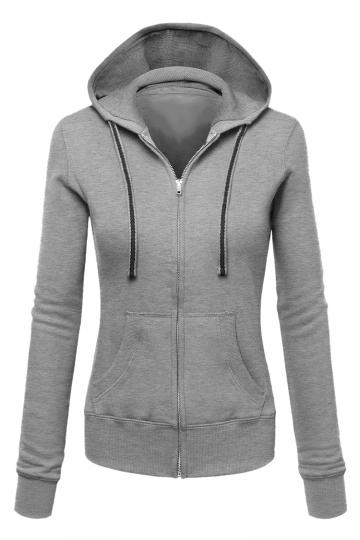 Womens Zip Up Drawstring Long Sleeve Hoodie Army Gray