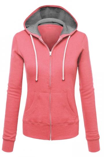 Womens Zip Up Drawstring Long Sleeve Hoodie Pink