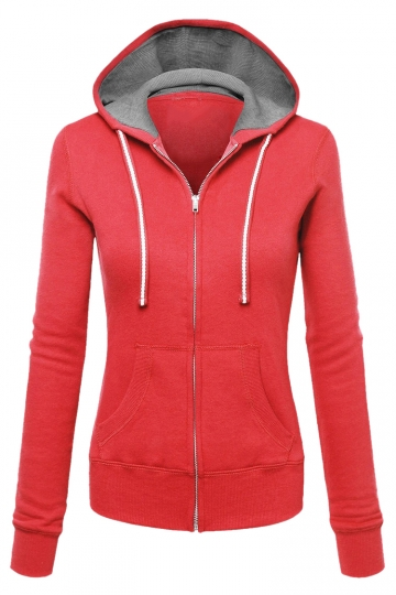 Womens Zip Up Drawstring Long Sleeve Hoodie Red