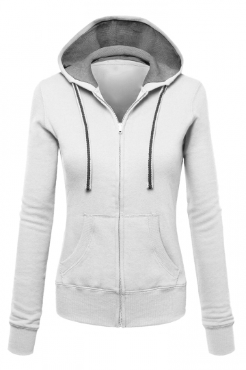 Womens Zip Up Drawstring Long Sleeve Hoodie White