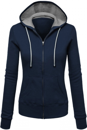 Womens Zip Up Drawstring Long Sleeve Hoodie Navy Blue