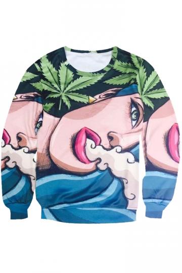 Womens Crewneck Hip-hop Printed Long Sleeve Sweatshirt Pink