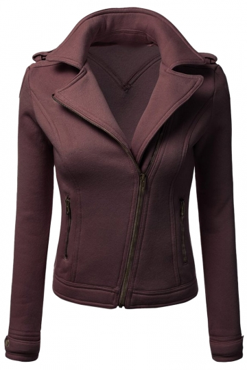 Womens Oblique Zip-up Long Sleeve Lapel Short Rider Jacket Brown