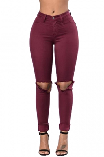 Womens High Waist Ripped Knee Plain Jeans Ruby