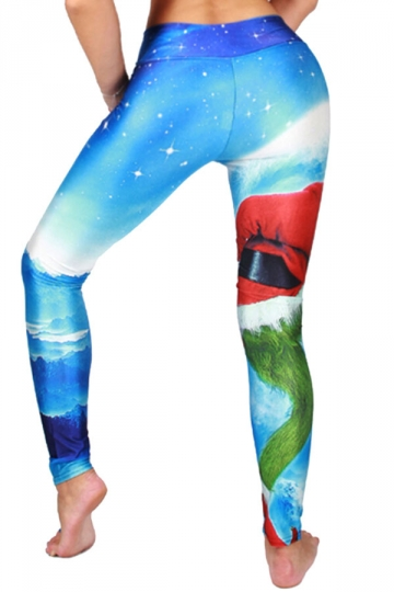 Womens High Waist Christmas Santa Printed Leggings Light Blue