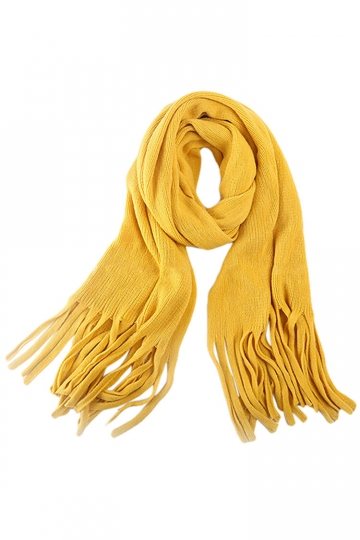 Womens Simple Tassel Solid Blanket Scarf Yellow