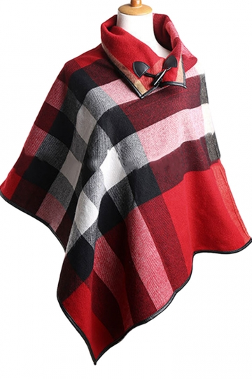 Womens Turndown Collar Color Block Plaid Poncho Red