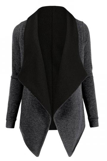 Womens Turndown Collar Long Sleeve Asymmetric Cardigan Coat Dark Gray