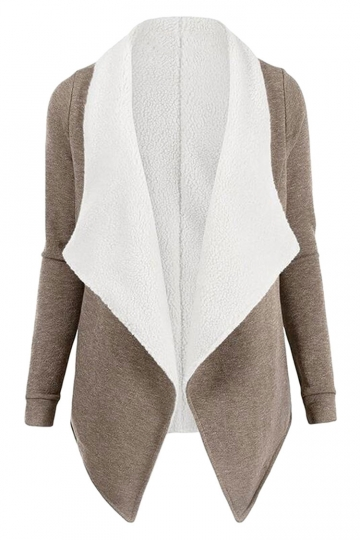 Womens Turndown Collar Long Sleeve Asymmetric Cardigan Coat Khaki