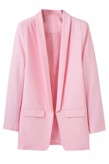 Womens Lapel Collar Long Sleeve Plain Blazer Pink