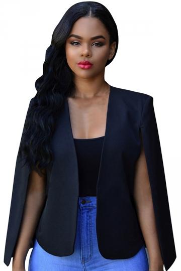 Womens Open Sleeve Plain Short Cape Blazer Black