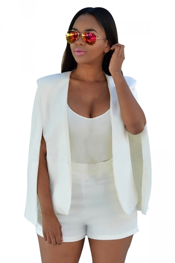 Womens Open Sleeve Plain Short Cape Blazer White - PINK QUEEN