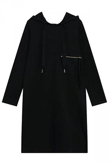 Womens Loose Drawstring Hooded Long Sleeve Dress Black