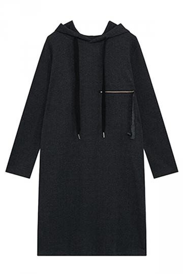 Womens Loose Drawstring Hooded Long Sleeve Dress Dark Gray