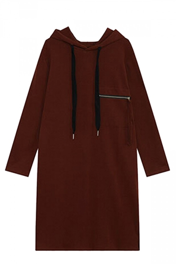 Womens Loose Drawstring Hooded Long Sleeve Dress Ruby