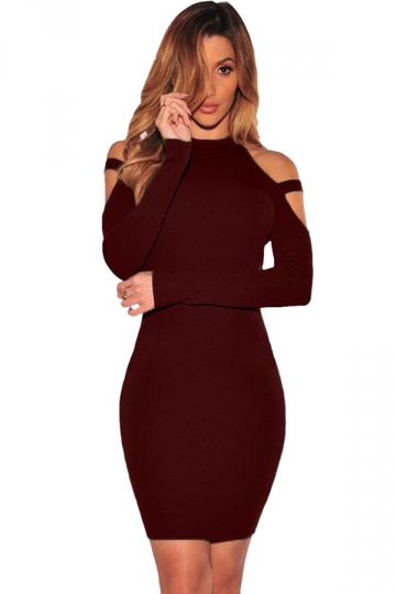 Womens Cold Shoulder Long Sleeve Plain Bodycon Dress Ruby