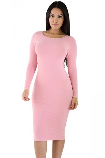 Womens Plain Long Sleeve Midi Bodycon Dress Pink Pink Queen